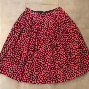 J Crew heart skirt + pockets